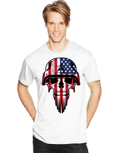 Skull USA Military Flag Helmet Warrior Short Sleeve T-Shirt - Vovo Inc