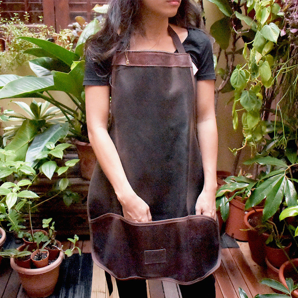Gardening Apron modelled at Tumbleweed's plant courtyard, Singapore