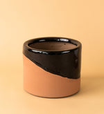 Slash Glazed Terracotta Pot Black