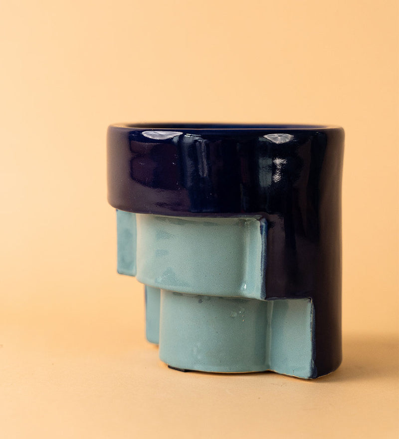 Staircase Ceramic Pot Blue