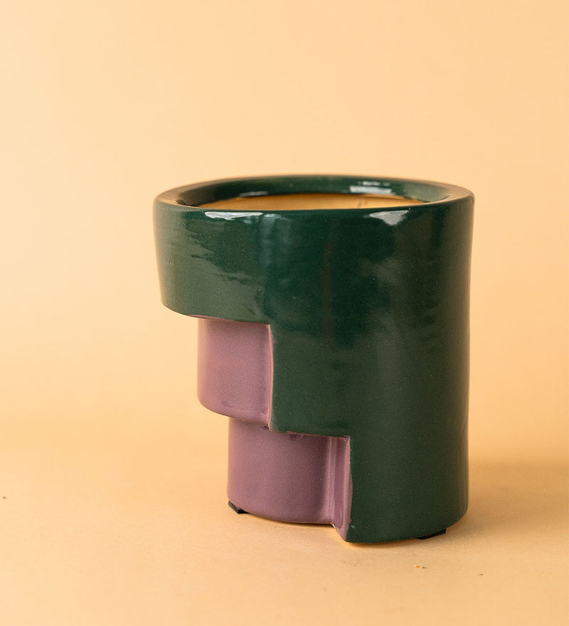 Staircase Ceramic Pot Green Purple