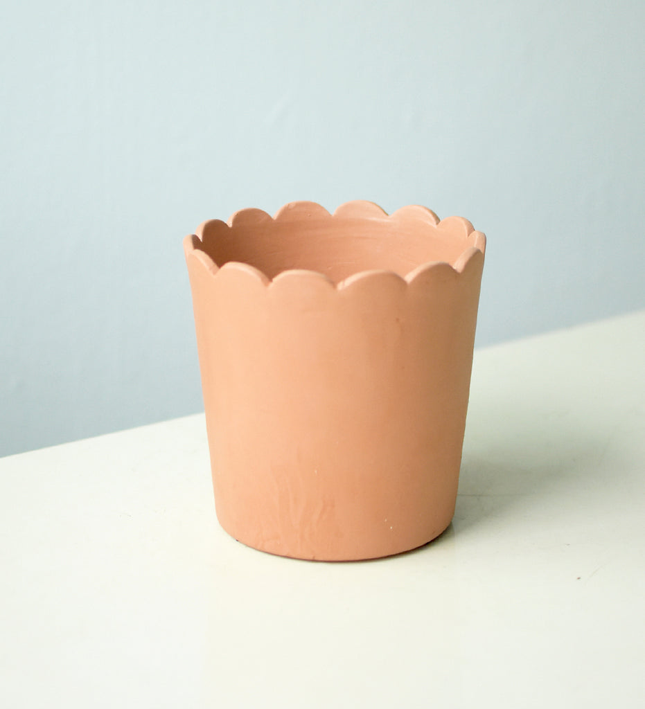 Ruffled Rim Terracotta Pot