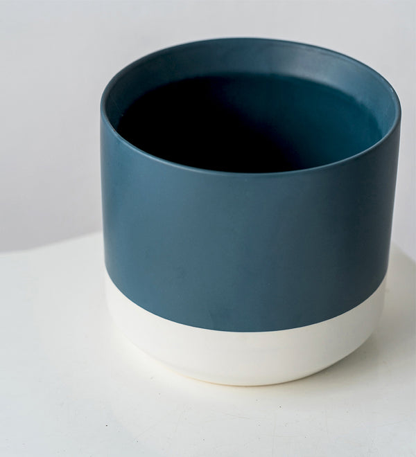 Two Tone Blue and White Pots