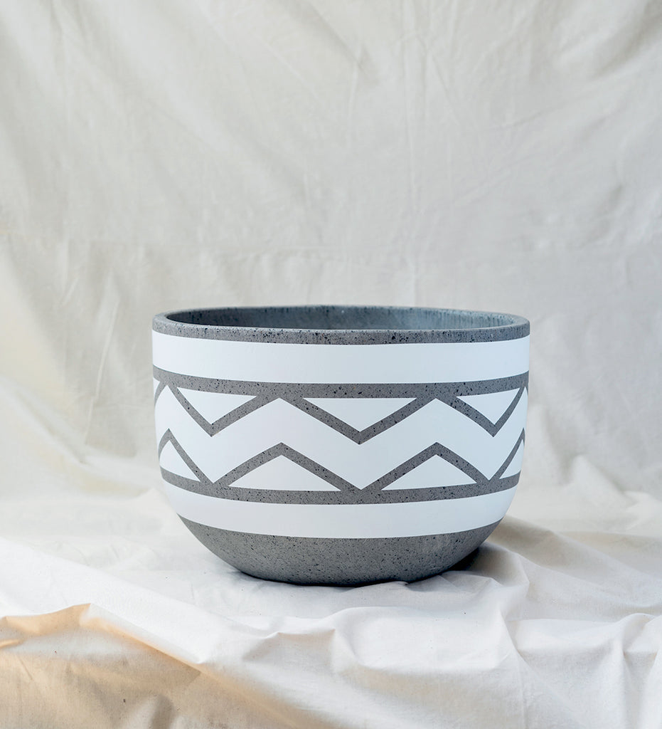 Wide Pot - White n Grey