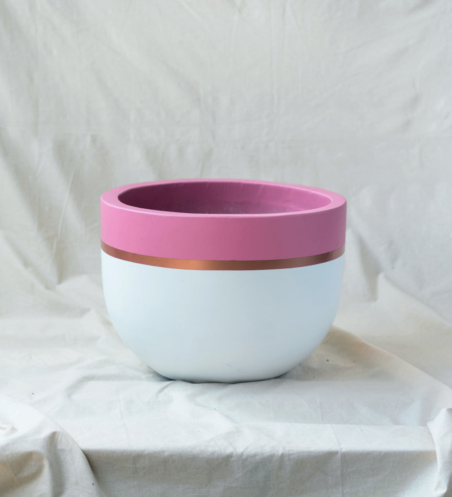 Wide Pot - Pink n Gold