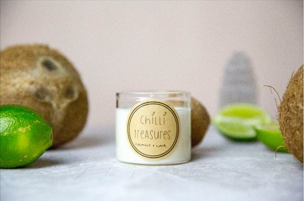 Coconut & Lime Vegan Soy Candle - Chilli Treasures
