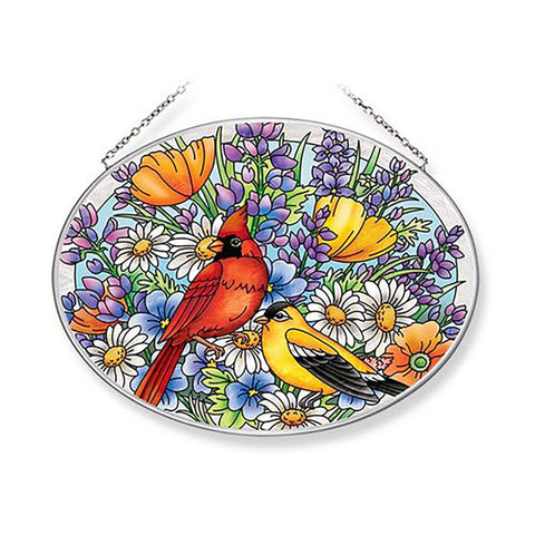Amia Hand-Painted Glass Suncatcher — Cardinal and Goldfinch in Flowers