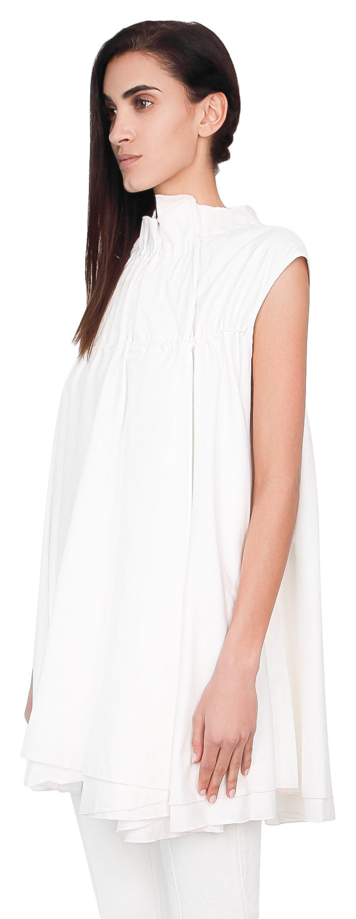 Sleeveless gather neck top