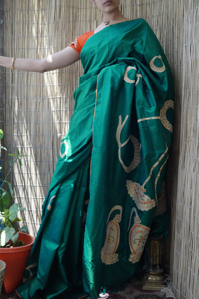 Abharana - Applique on silk Kanjivaram - The Maggam Collective
