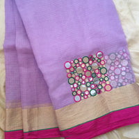 Lavender fields: Kota with Banjara mirror hand-embroidery - The Maggam Collective