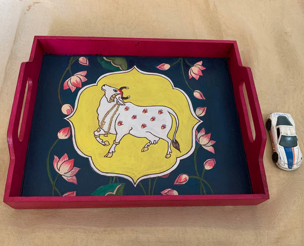 Hand painted tray - pichwai design