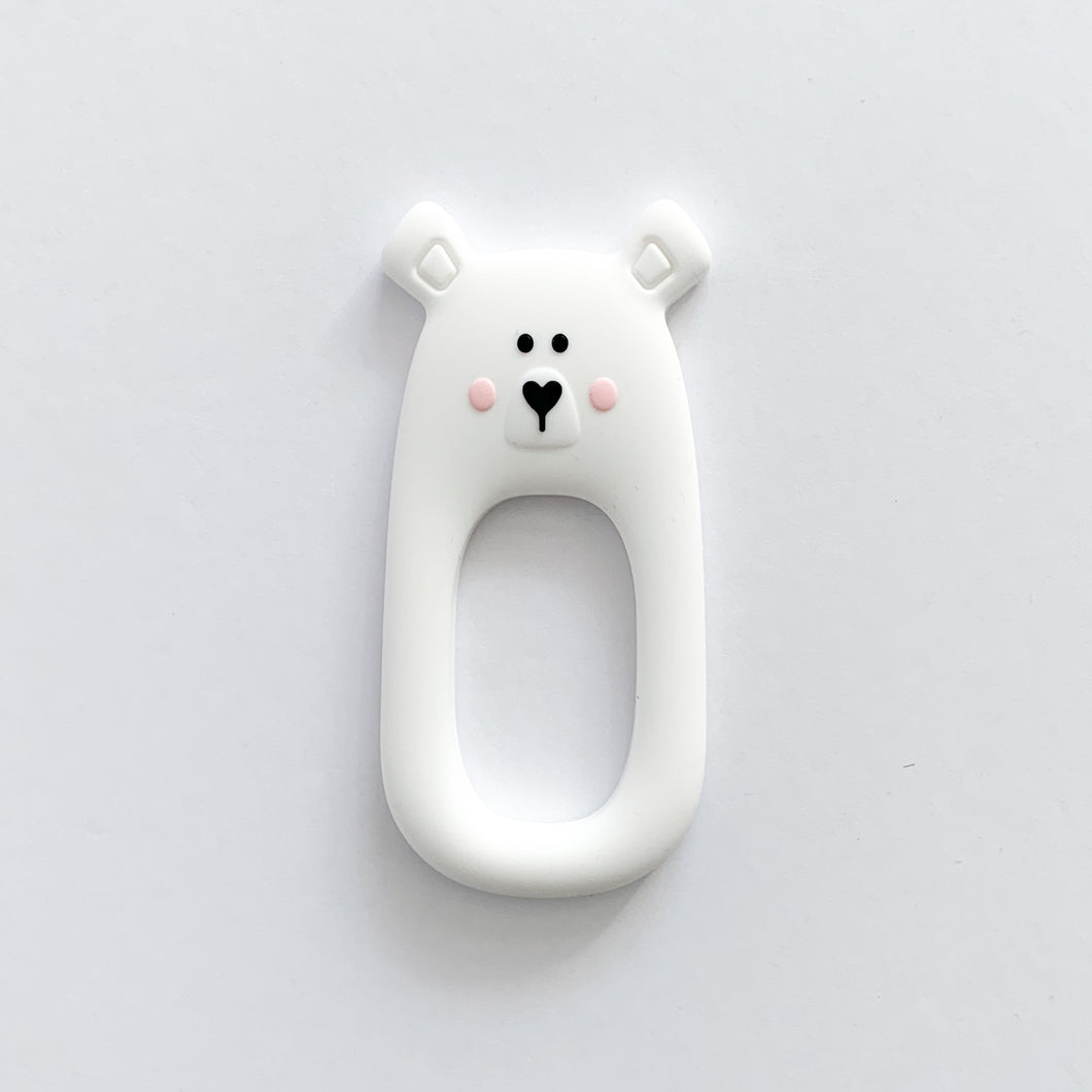 White Bear Teether + Clip