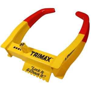 Trimax TCL75 Deluxe Universal Wheel Chock Lock-Yellow-Red