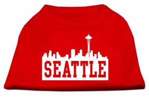 Seattle Skyline Screen Print Shirt Red Med (12)
