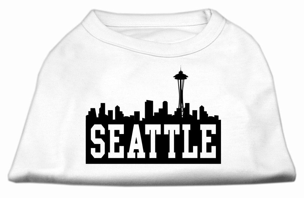 Seattle Skyline Screen Print Shirt White Med (12)