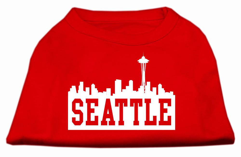 Seattle Skyline Screen Print Shirt Red Sm (10)