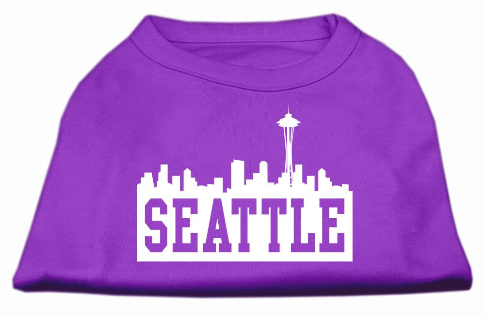 Seattle Skyline Screen Print Shirt Purple Xs (8)