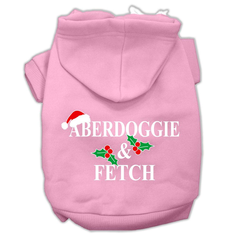 Aberdoggie Christmas Screen Print Pet Hoodies Light Pink Size L (14)