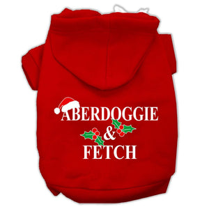 Aberdoggie Christmas Screen Print Pet Hoodies Red Size L (14)