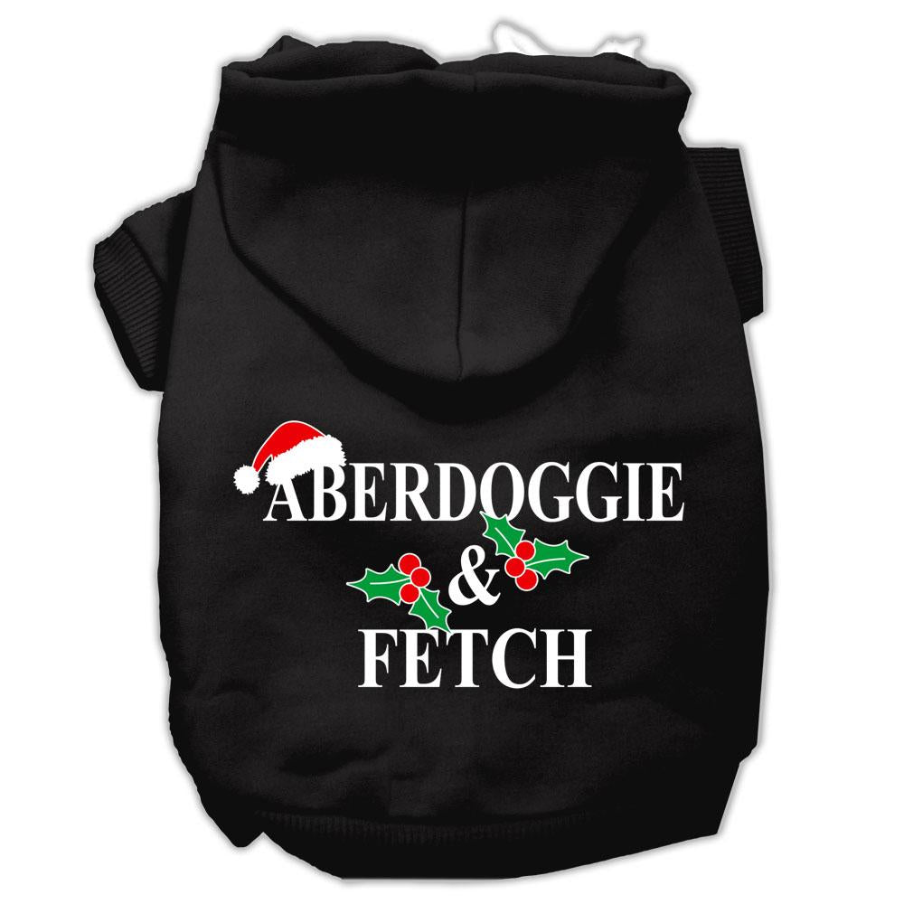 Aberdoggie Christmas Screen Print Pet Hoodies Black Size M (12)