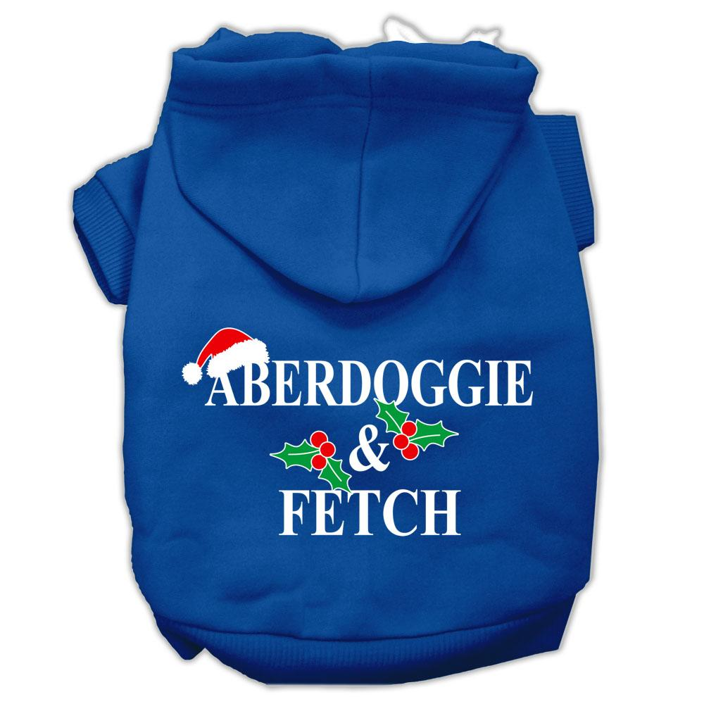 Aberdoggie Christmas Screen Print Pet Hoodies Blue Size M (12)