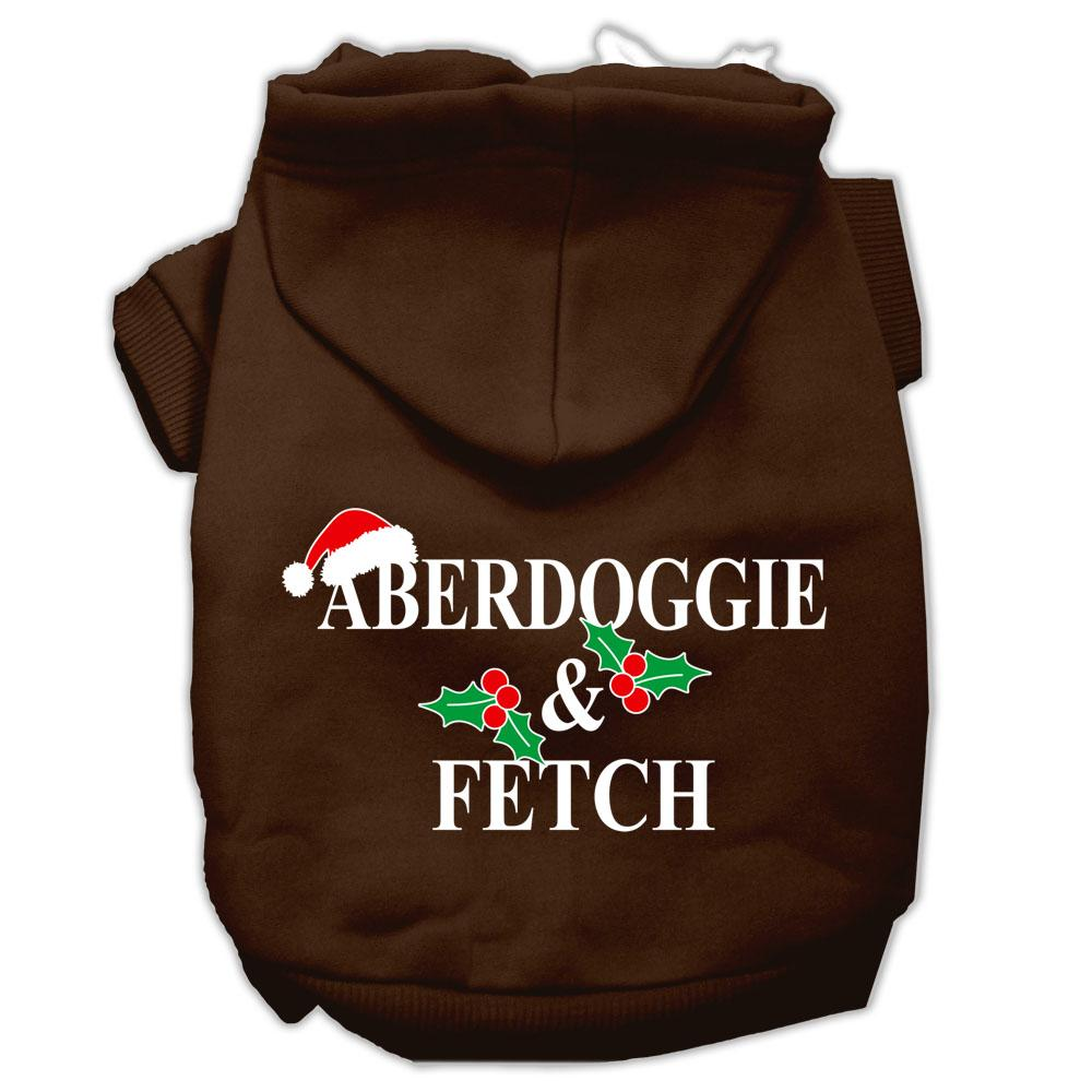 Aberdoggie Christmas Screen Print Pet Hoodies Brown Size Xs (8)