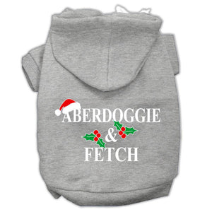 Aberdoggie Christmas Screen Print Pet Hoodies Grey Size Xs (8)
