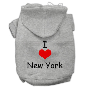 I Love New York Screen Print Pet Hoodies Grey Size Sm (10)