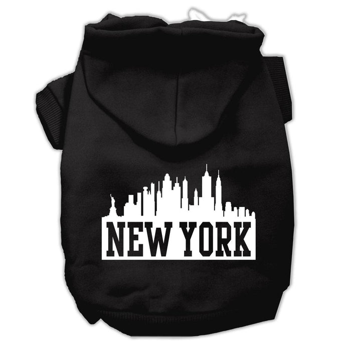 New York Skyline Screen Print Pet Hoodies Black Size Sm (10)