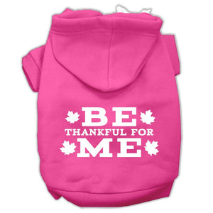 Be Thankful For Me Screen Print Pet Hoodies Bright Pink Size M (12)