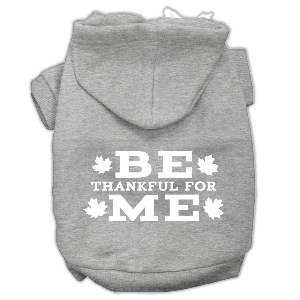 Be Thankful For Me Screen Print Pet Hoodies Grey Size M (12)