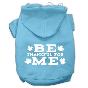 Be Thankful For Me Screen Print Pet Hoodies Baby Blue Size S (10)