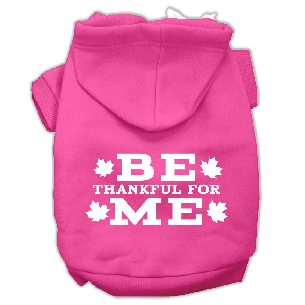 Be Thankful For Me Screen Print Pet Hoodies Bright Pink Size S (10)