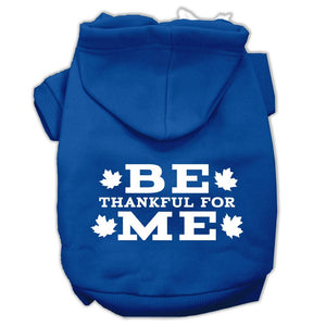 Be Thankful For Me Screen Print Pet Hoodies Blue Size Xs (8)