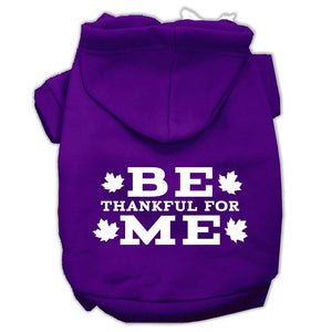 Be Thankful For Me Screen Print Pet Hoodies Purple Size Xs (8)