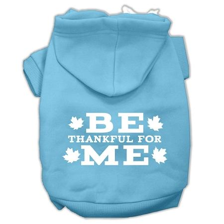 Be Thankful For Me Screen Print Pet Hoodies Baby Blue Size Xxxl(20)