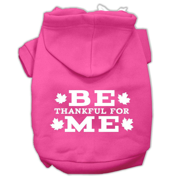 Be Thankful For Me Screen Print Pet Hoodies Bright Pink Size Xxxl(20)