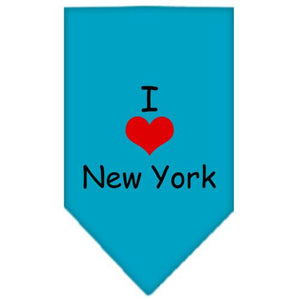 I Heart New York  Screen Print Bandana Turquoise Small