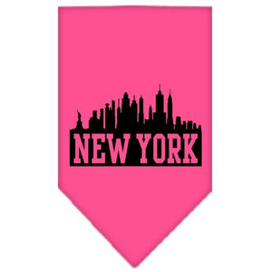 New York Skyline Screen Print Bandana Bright Pink Large