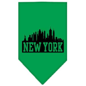 New York Skyline Screen Print Bandana Emerald Green Large