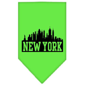 New York Skyline Screen Print Bandana Lime Green Large