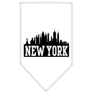 New York Skyline Screen Print Bandana White Large