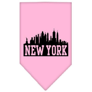 New York Skyline Screen Print Bandana Light Pink Small