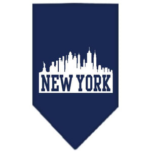 New York Skyline Screen Print Bandana Navy Blue Small