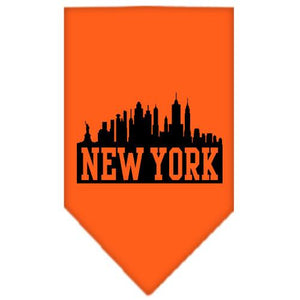 New York Skyline Screen Print Bandana Orange Small