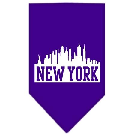 New York Skyline Screen Print Bandana Purple Small