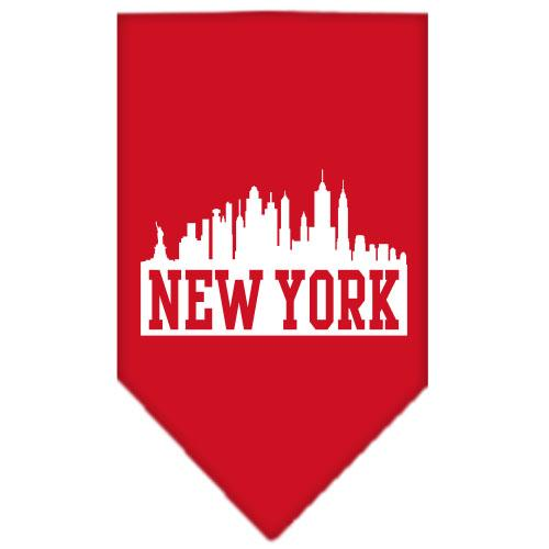 New York Skyline Screen Print Bandana Red Small