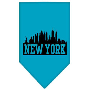 New York Skyline Screen Print Bandana Turquoise Small