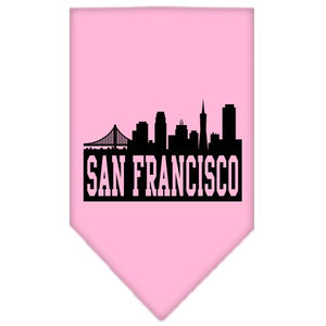 San Francisco Skyline Screen Print Bandana Light Pink Large