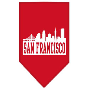 San Francisco Skyline Screen Print Bandana Red Large